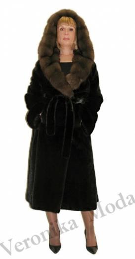 Шуба из норки BLACKGLAMA под пояс с капюшоном из соболя
