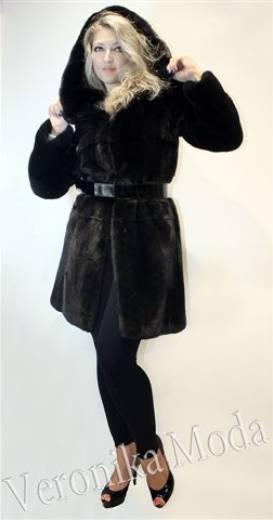 Полушубок из  норки   исключительно  blackglama с капюшоном под пояс